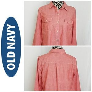 Old Navy Light Coral Button Down Blouse
